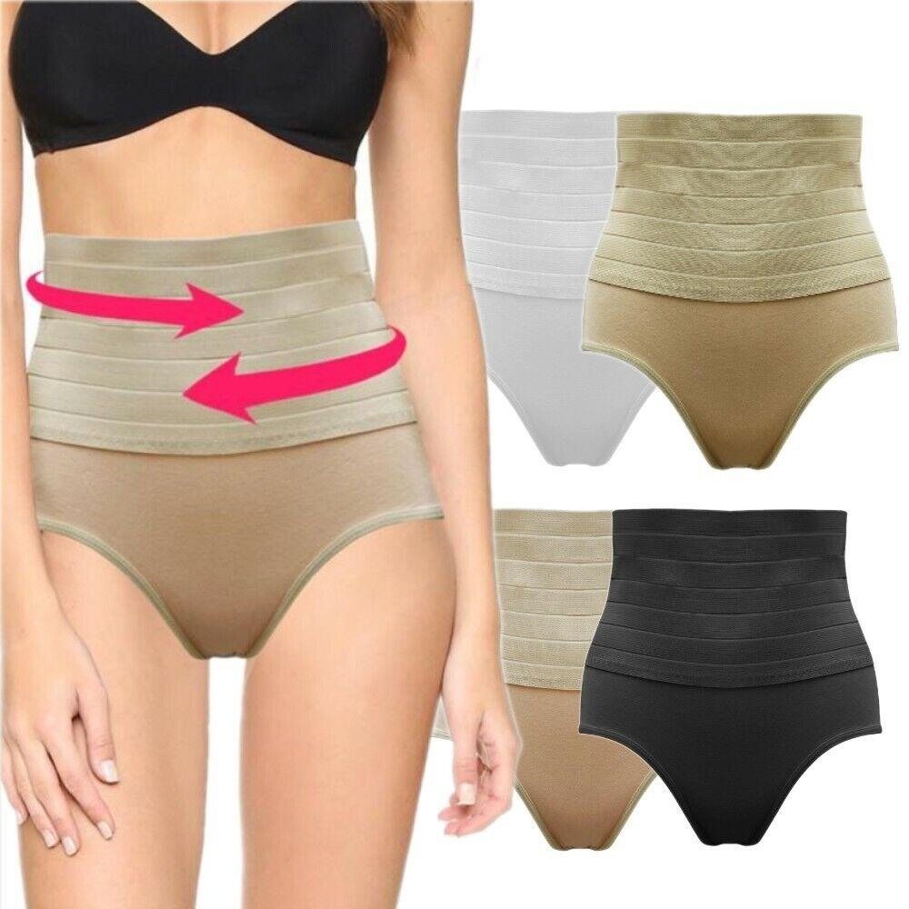 Damen Slip Mieder Shaper Bauchweg High Waist Baumwolle Unterhose 36 38 40 42 S