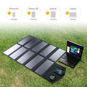 18V60W Foldable Solar Panel External Battery Charger Pack fr Phone Laptop Tablet