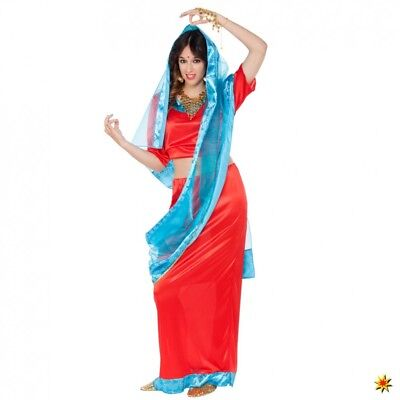 Inderin Kostüm Bollywood Girl S/M Bluse Rock Tuch rot/blau Länder Indien