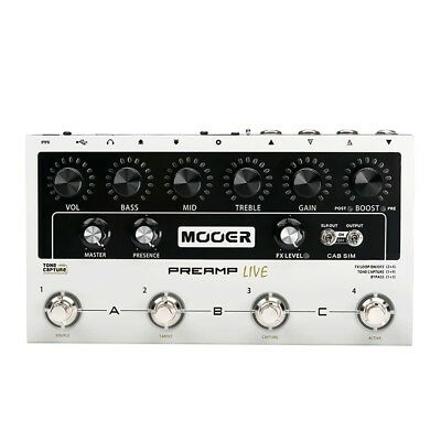 Mooer Preamp Live Modeller Cab Sim Guitar Pedal w/ USB MIDI Effects Loop Mac PC