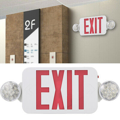 Red ALL LED Exit Sign & Emergency Light Standard Combo 2Head Backup Battery Q0D3