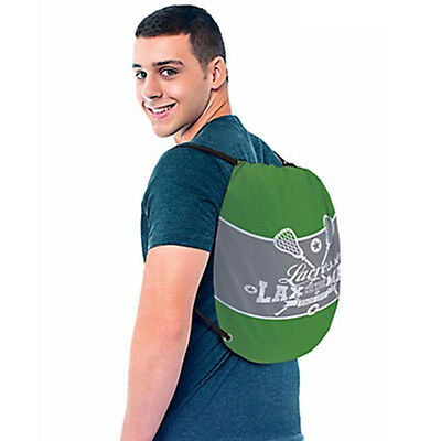 LACROSSE DRAWSTRING SLING BACKPACK ~ Sports Birthday Party Supplies Favor Green