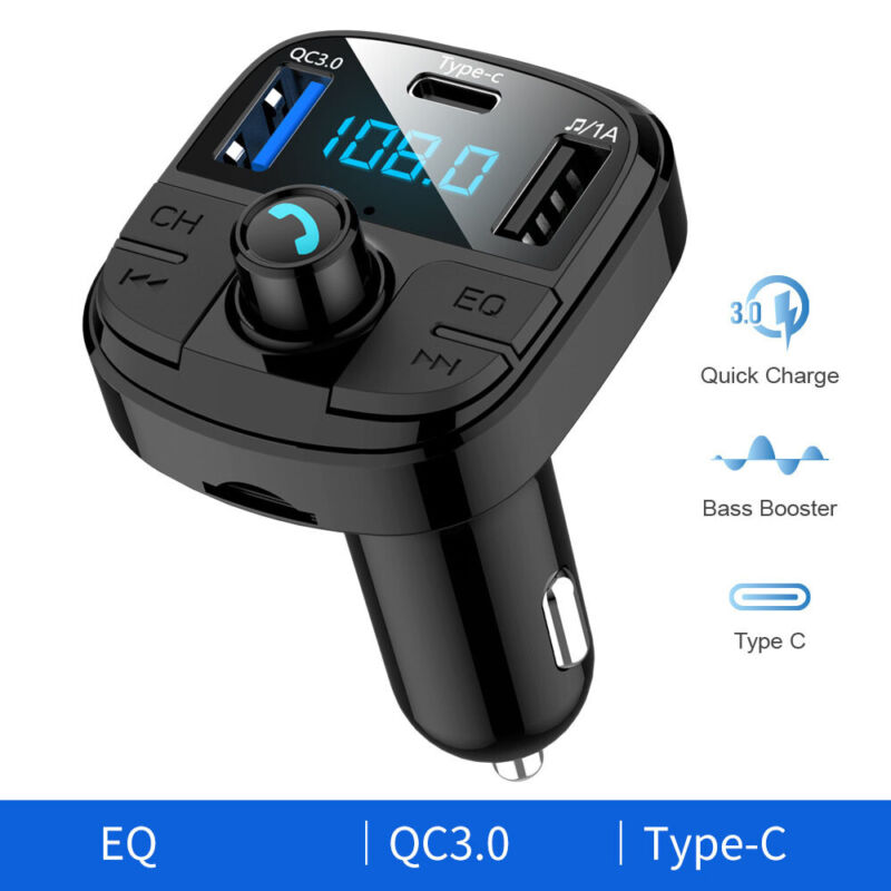 Type-C & QC3.0 USB Charger Bluetooth5.0 Car FM Transmitter MP3 Radio Adapter USA