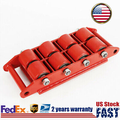 12t Heavy Duty Machinery Mover Skate Roller Cargo Trolley W 360 Rotation Cap