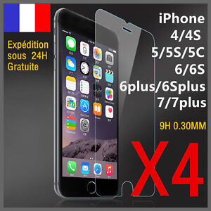 Lot-4-vitre-protection-verre-trempe-film-protecteur-ecran-iPhone-4-5-6-S-plus-7