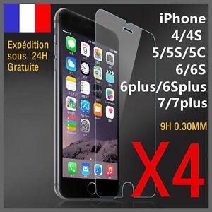 Lot/4 vitre protection verre trempé film protecteur écran iPhone 4/5/6/S/plus/7