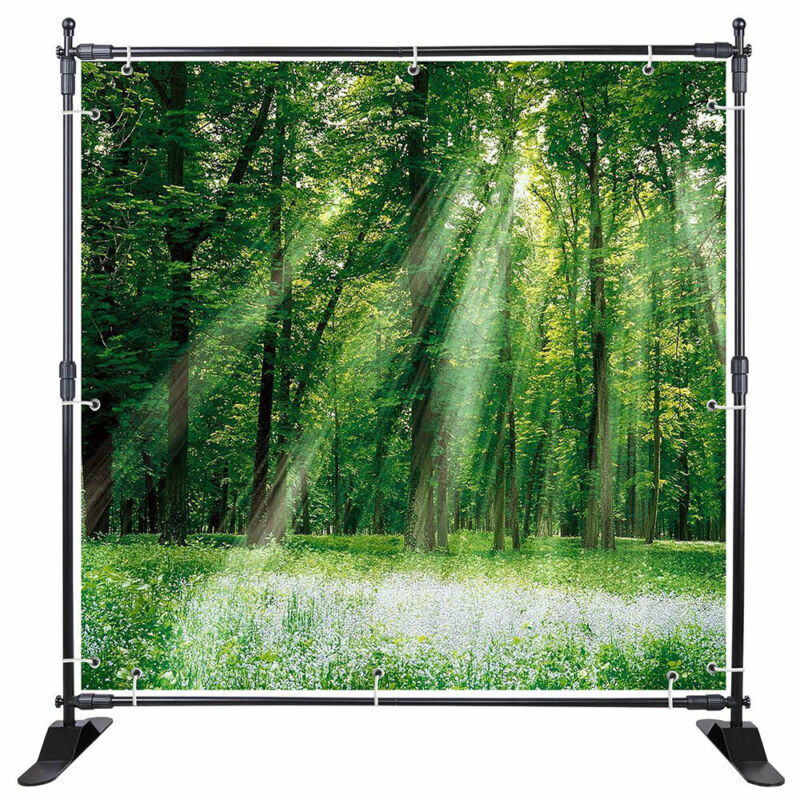 8x8 Telescopic Banner Stand Adjustable Support Backdrop Commercial Show Display