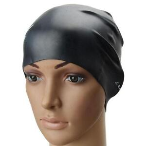 New-Black-Universal-Waterproof-Silicone-Swimming-Cap-Bathing-Hat-Stylish