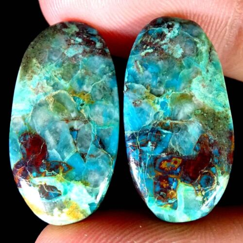 34.00Ct.Natural Gorgous Chrysocolla Oval Pair Cabochon Untreated Loose Gemstone