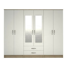 hampton wardrobe 4 you, 2,28m wide 6 door oak and white wardrobe