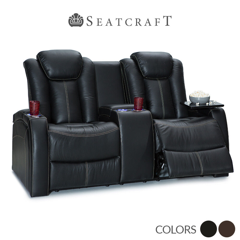Seatcraft Republic Leather Home Theater Seating Double Recli