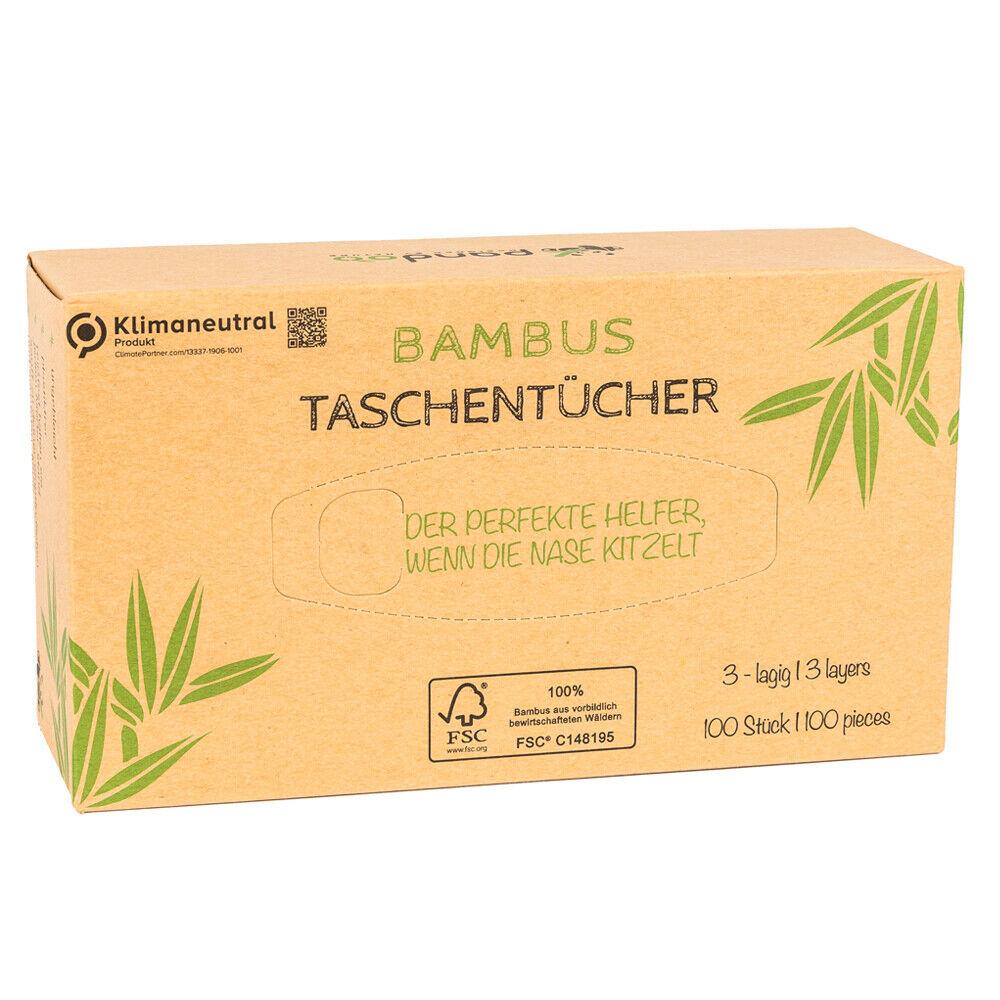 Pandoo 100% Bambus Taschentücher - Holzfreies Taschentuch 100 Blatt - 3 lagig