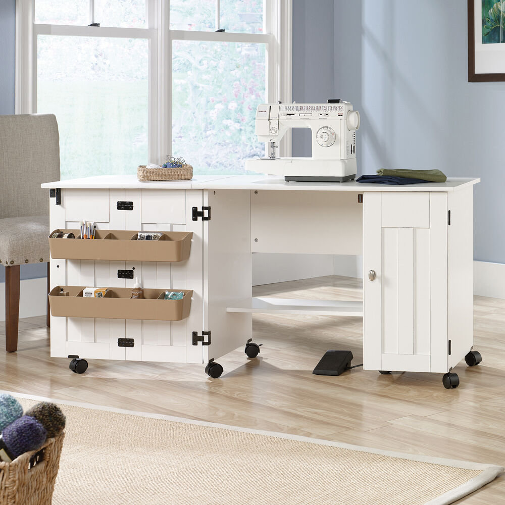 Sewing machine table cabinet craft storage desk dresser for Craft cupboard with table