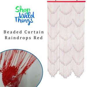 NEW ShopWildThings Beaded Curtain Raindrops Red Condtion: New, Raindrops Red Non-Iridescent