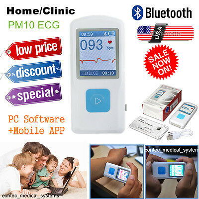 Us Fda Portable Ecgekg Machine Record Heart Rate Monitorpc Software Bluetooth
