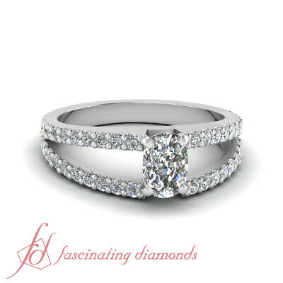 Two Row Split Band Engagement Ring Pave Set 0.90 Ct Cushion Cut Diamond VS1 GIA
