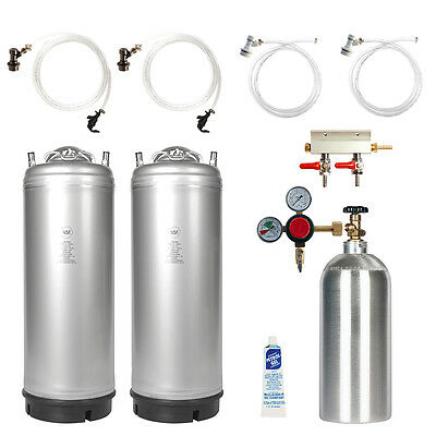 Dual Keg Kit Two 5 Gal Ball Lock Kegs Co2 Tank Regulator Parts - Ships Free