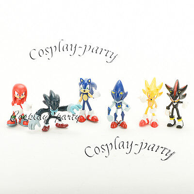 Sonic The Hedgehog 6 pcs Figures Dolls Amy Knuckles Tails Amy Metal Super Sonic