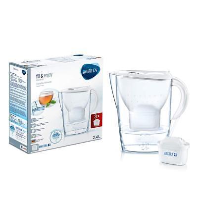 BRITA Kit Marella con 3 filtri MAXTRA, Caraffa filtrante, capacità 2.4 L, bianca