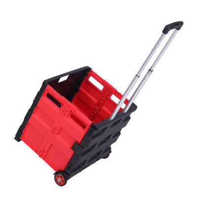 Folding Trolley Rolling Shopping Cart Collapsible Basket 2 Wheel Plastic Storage