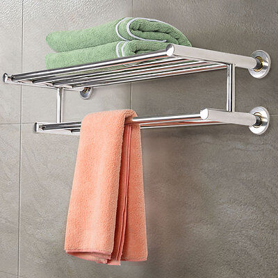 شماعة حمام جديد Stainless Steel Wall Mounted Towel Rack Bathroom Hotel Rail Holder Storage Shelf