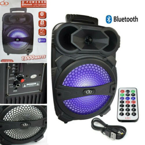 "Portable PA Karaoke Bluetooth Speaker w// 8/"" Subwoofer Sound System Big LED MIC"