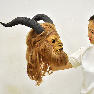 Beauty and The Beast Prince Mask Cosplay Halloween Prop Helme with tusks DDF - Beast Mask