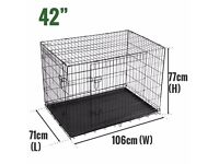 """SALE! Dog Cages Puppy Training Cage Large Dog Cage Tray CarLarge Pet Carrier (42"""")"""