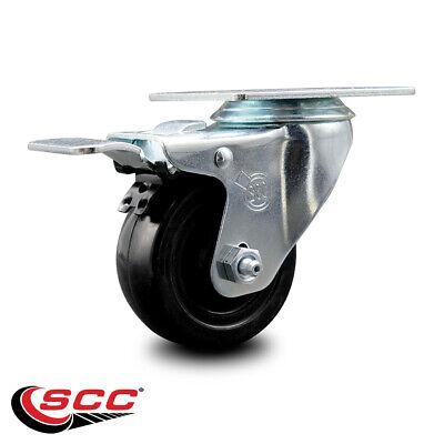Hard Rubber Swivel Top Plate Caster W3.5 Wheel Total Lock Brake