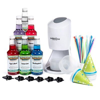 Snow Cone Maker Set Shaved Ice Machine Cones Syrup Flavors Spoon Straw Pourers