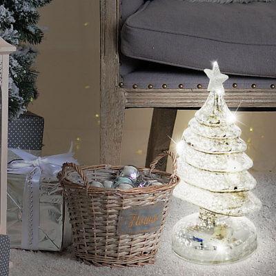 LED Weihnachts Steh Schmuck Glas Glitzer Tannen Christ Baum Deko Lampe X-MAS