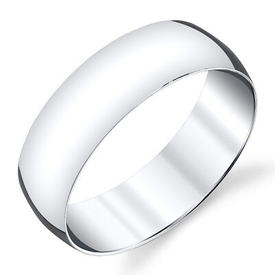7mm Plain Dome Sterling Silver Mens Wedding Band Comfort Fit Ring  #SEVB007