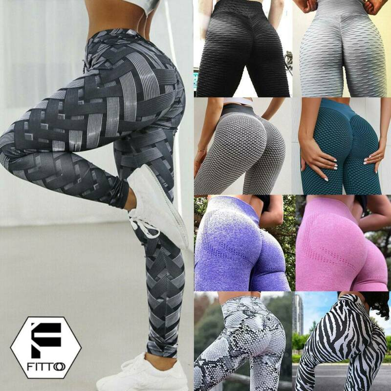 Womens Anti-Cellulite Sports Push Up Yoga Pants Leggings Ruched Gym Trousers