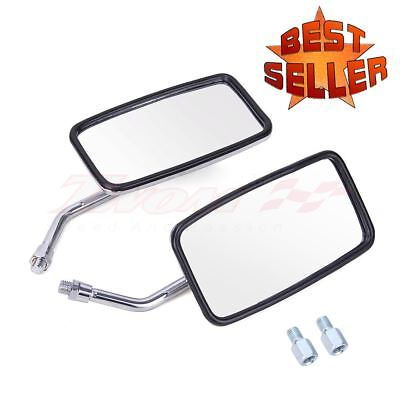 CHROME RECTANGULAR MOTORCYCLE REAR VIEW MIRRORS LONG STEM CUSTOM UNIVERSAL 10MM ()