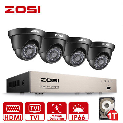 ZOSI 1080N 8 Channel DVR CCTV Camera Outdoor Home Security System 720P Record 1T
