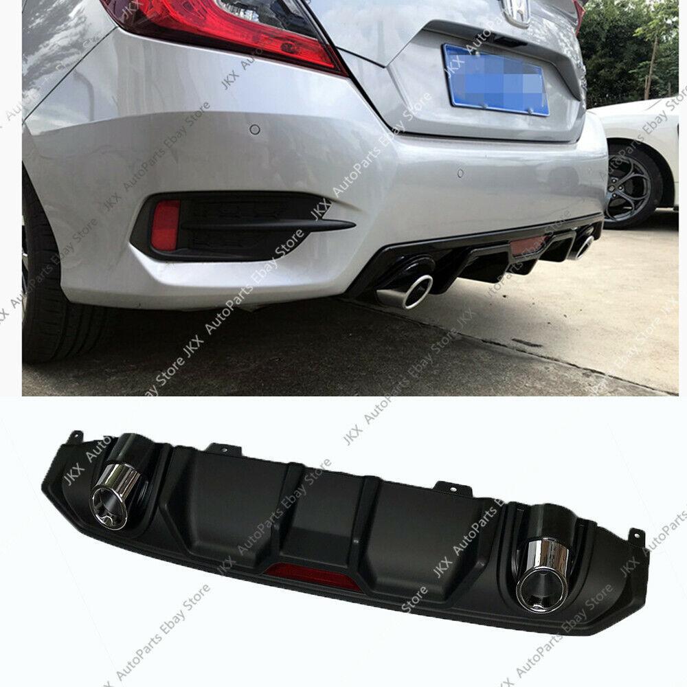 2020 Honda Fit: PP Black Rear Bumper Diffuser Protect W/ Exhaust For Honda