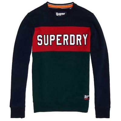 Superdry Men's Academy Color Block Red/Blue/Green Cotton Blend Sweatshirt