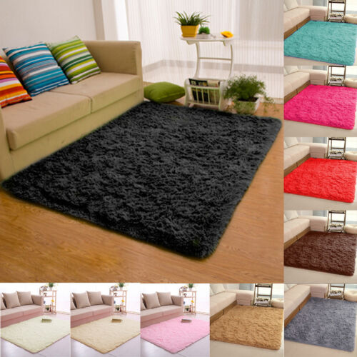 Black And White Rug Ebay Uk: Fluffy Rugs Anti-Skid Shaggy Area Rug Dining Room Carpet