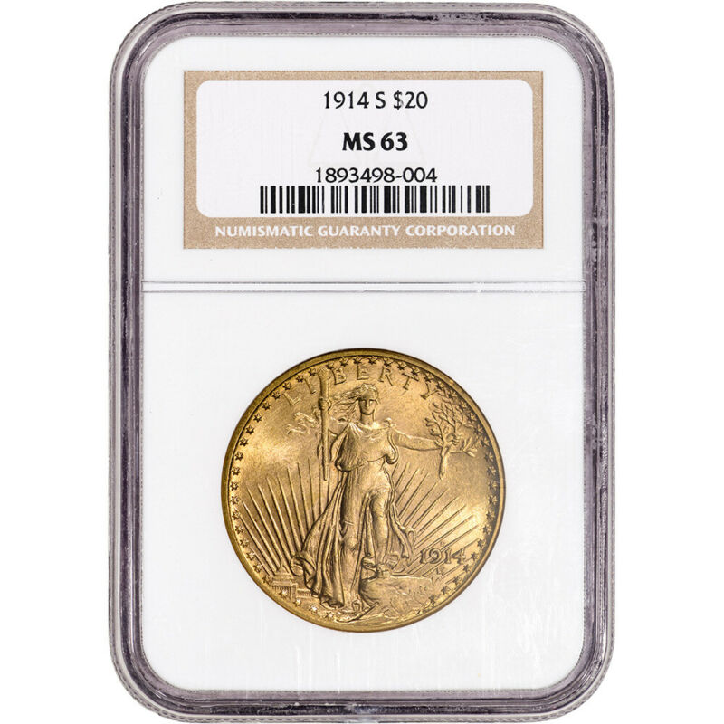 1914-S US Gold $20 Saint-Gaudens Double Eagle - NGC MS63