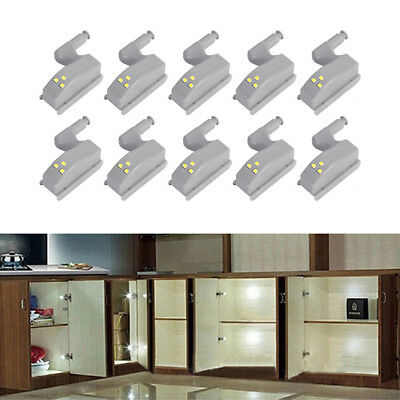 10pcs Under Cabinet LED Kitchen Hinge Sensor Cupboard Closet Lights Lamp White ()
