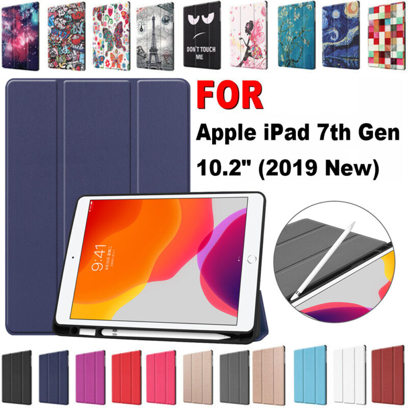 Tablet Case Cover With Pencil Holder For Apple iPad 7th Gene