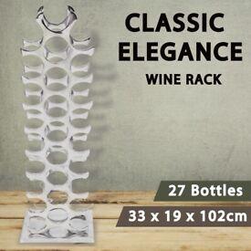 Wine Rack Aluminium Silver 27 Bottles-243503