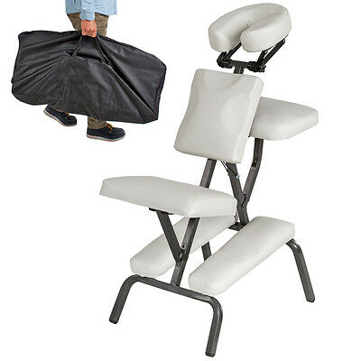 PORTABLE FOLDING MASSAGE TATTOO CHAIR THERAPY BEAUTY STOOL ADJUSTABLE WHITE