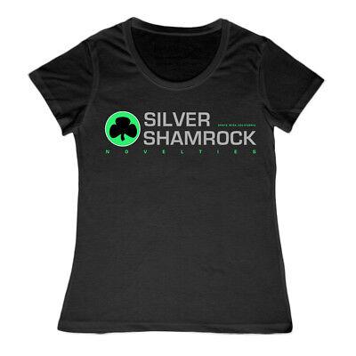 Damen Silber Shamrock Novelties Halloween Film T-Shirt Horror Damen Jason