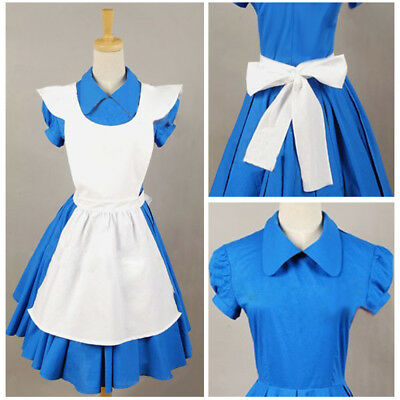 Movie Alice in Wonderland Blue Maid Dress Cosplay Costume Outfit Suit Apron