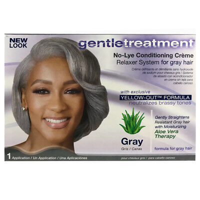 Gentle Treatment No Lye Conditioning Creme Relaxer System Gray Hair Yellow-Out