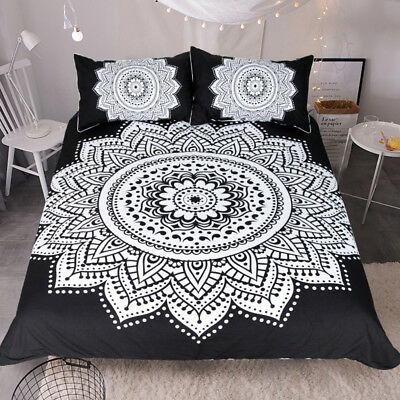 Mandala Print Bedding Set Queen Size Floral Pattern Duvet Cover Black and White  Black And White Floral Bedding