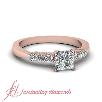 Seven Stone Tapered Engagement Ring With Princess Cut Diamond In Center 0.90 Ctw