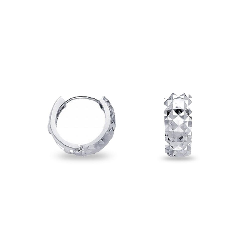 2baff122f85a3 Details about Solid 14k White Gold Small Huggie Hoop Earrings Round Dome  Huggies Earrings