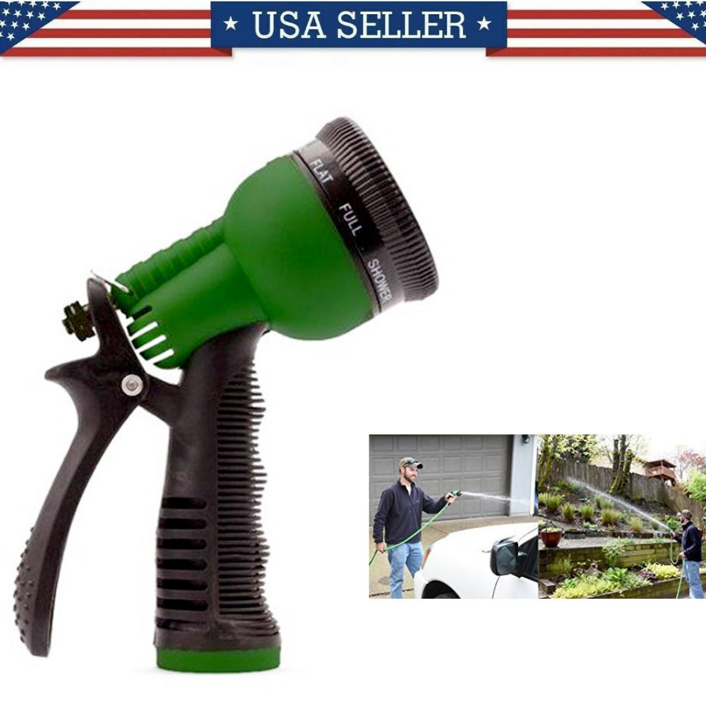Garden Lawn Hose Nozzle Head Water Sprayer Green – 7 SPRAY PATTERNS! 300+SOLD Home & Garden